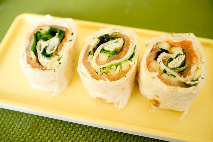 wrap saumon pomme et salade