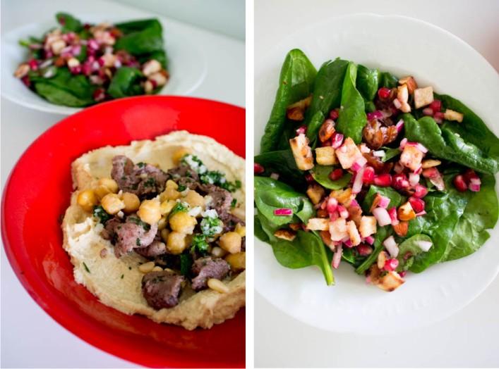 Houmous kawarma à l'agneau et salade d'épinard, dattes, amandes et grenades 5