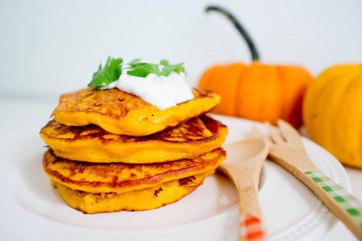 Pancakes au potiron et coriandre sur la Godiche