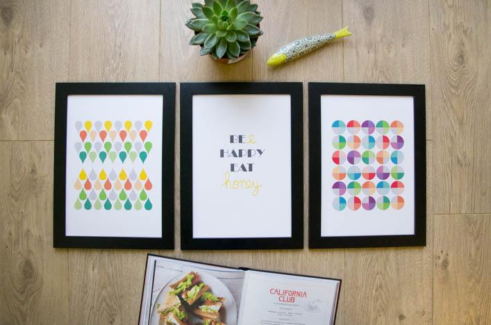 Affiches géométriques et citation Bee happy eat honey sur la godiche