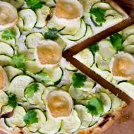 Pizza blanche à la courgette, chèvre et miel sur la Godiche