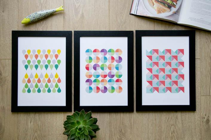 Trio d'affiches motifs géométriques sur la Godiche etsy