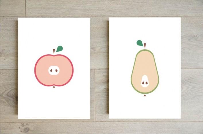 Affiche pomme et poire pour la cuisine boutique etsy godiche
