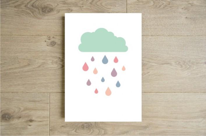 Affiche nuage et pluie boutique etsy godiche