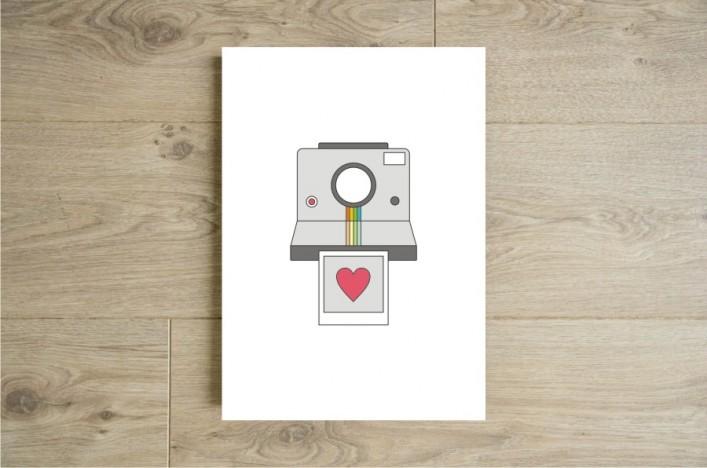 Affiche polaroid coeur boutique etsy godiche