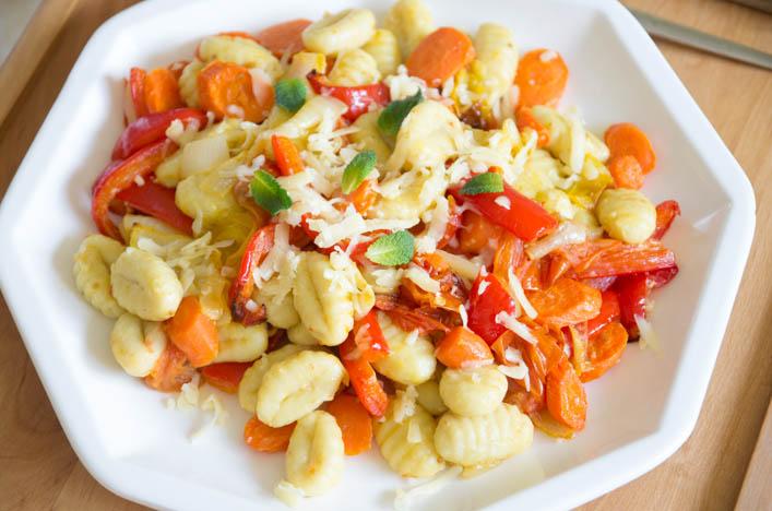 Gnocchis aux légumes rôtis sur la Godiche