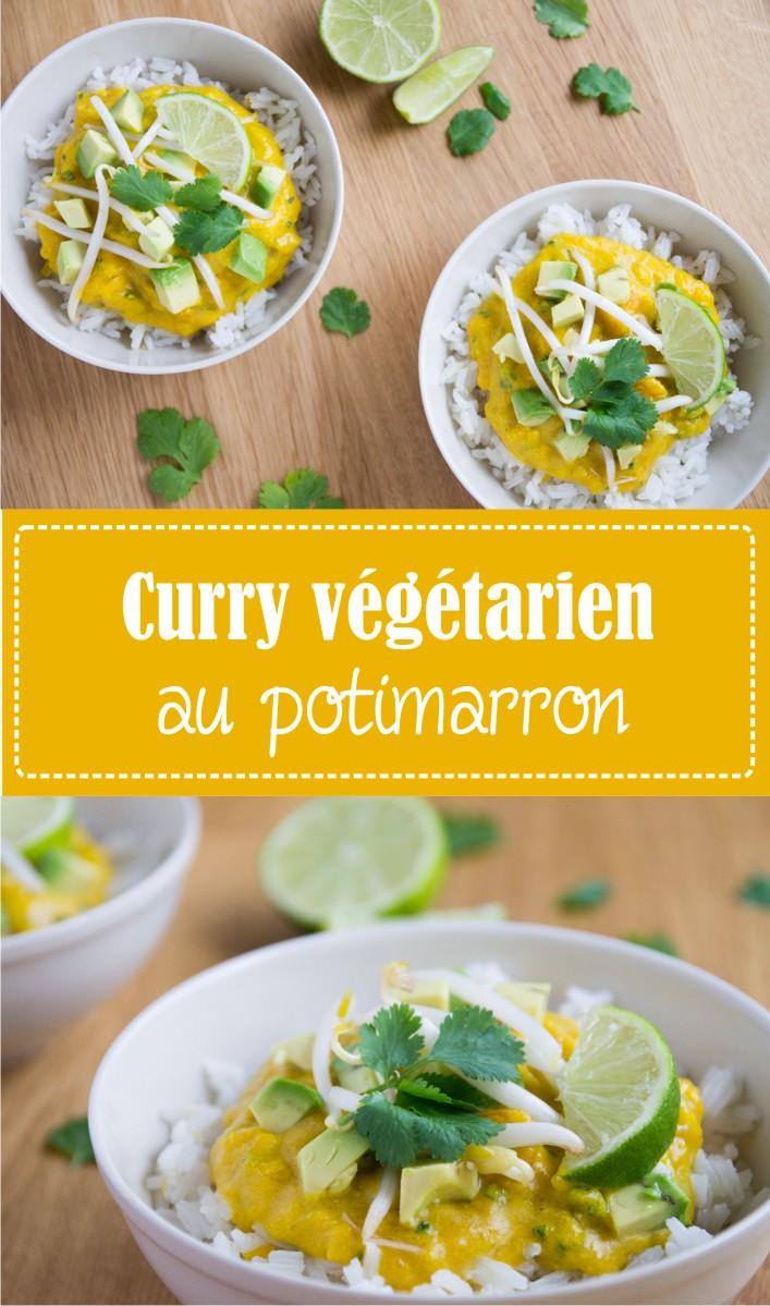 Curry vegan végétarien au potimarron lait de coco avocat coriandre recette sur la Godiche
