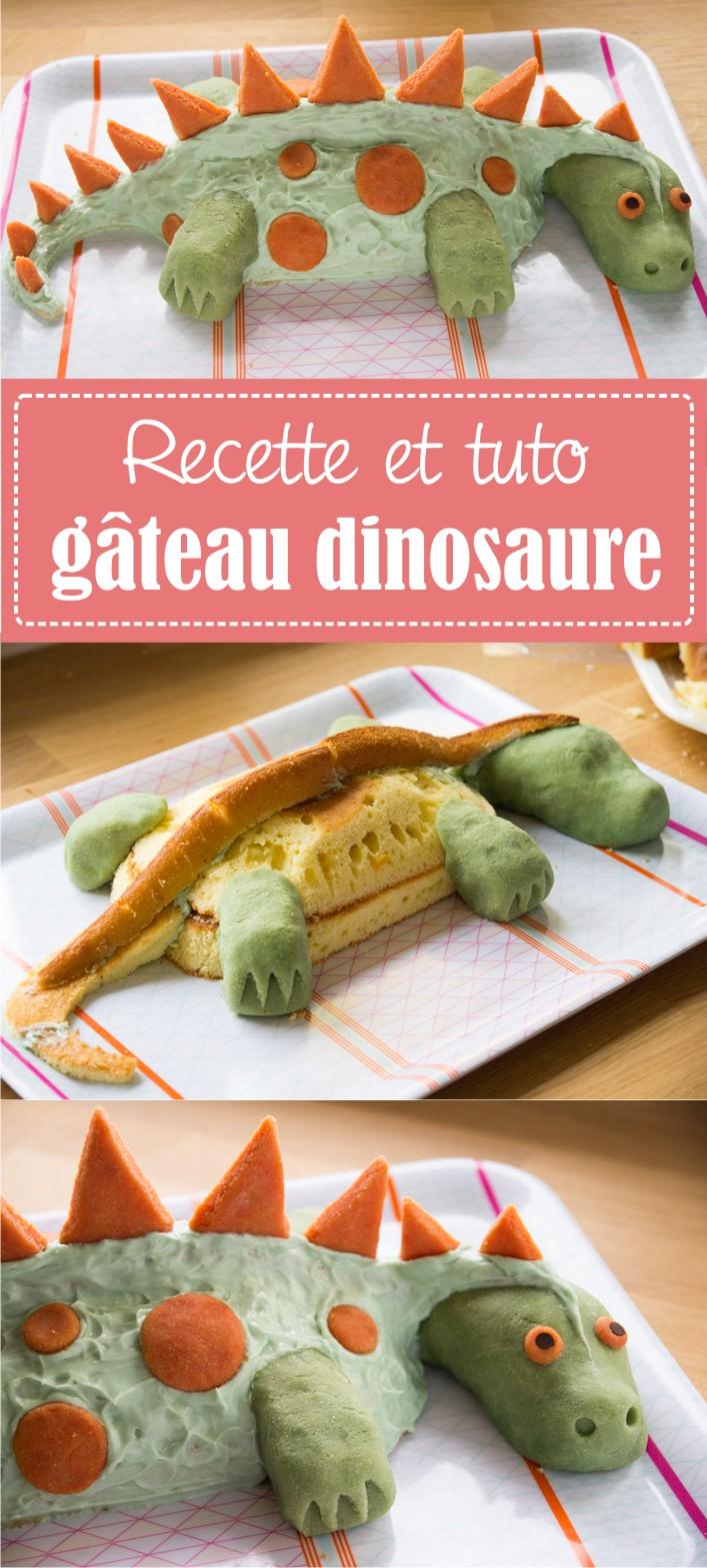 Gâteau dinosaure pâte d'amande et glaçage - recette et tuto sur la Godiche