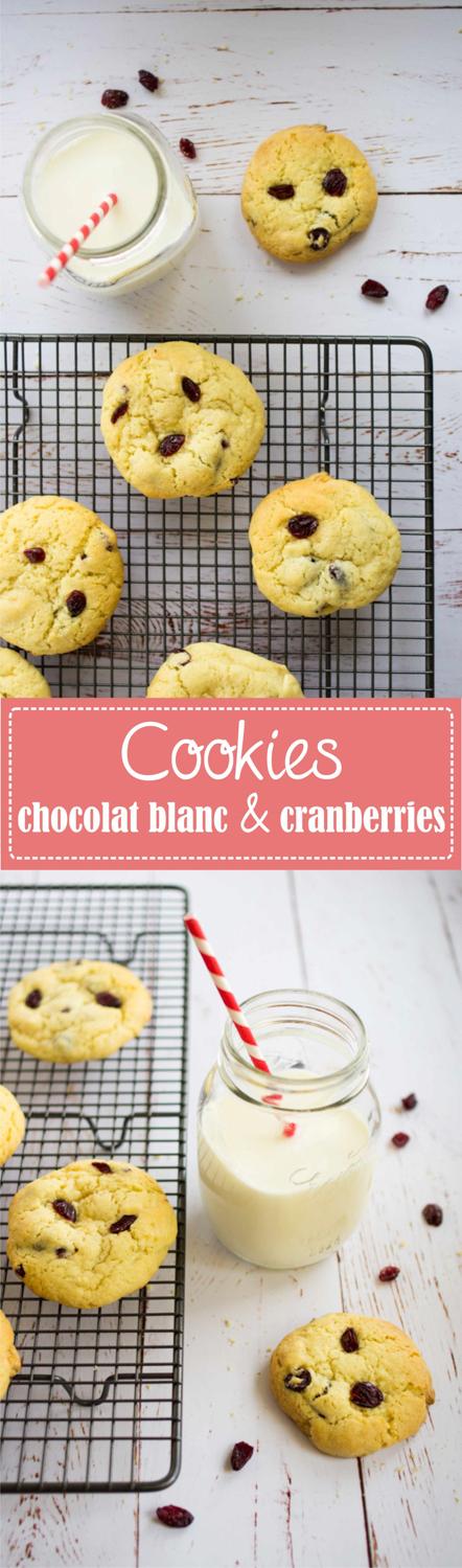 Cookies au chocolat blanc et cranberries recette sur la Godiche