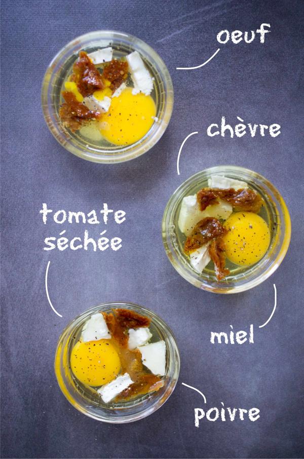 Oeufs cocotte au chèvre et tomates séchées, miel et basilic recette facile et rapide sur la Godiche