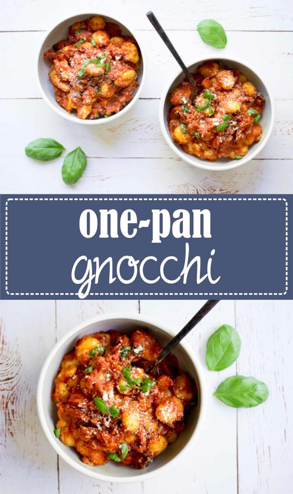 One pan gnocchi à la tomate, parmesan et basilic. Recette simple et rapide à découvrir sur la Godiche