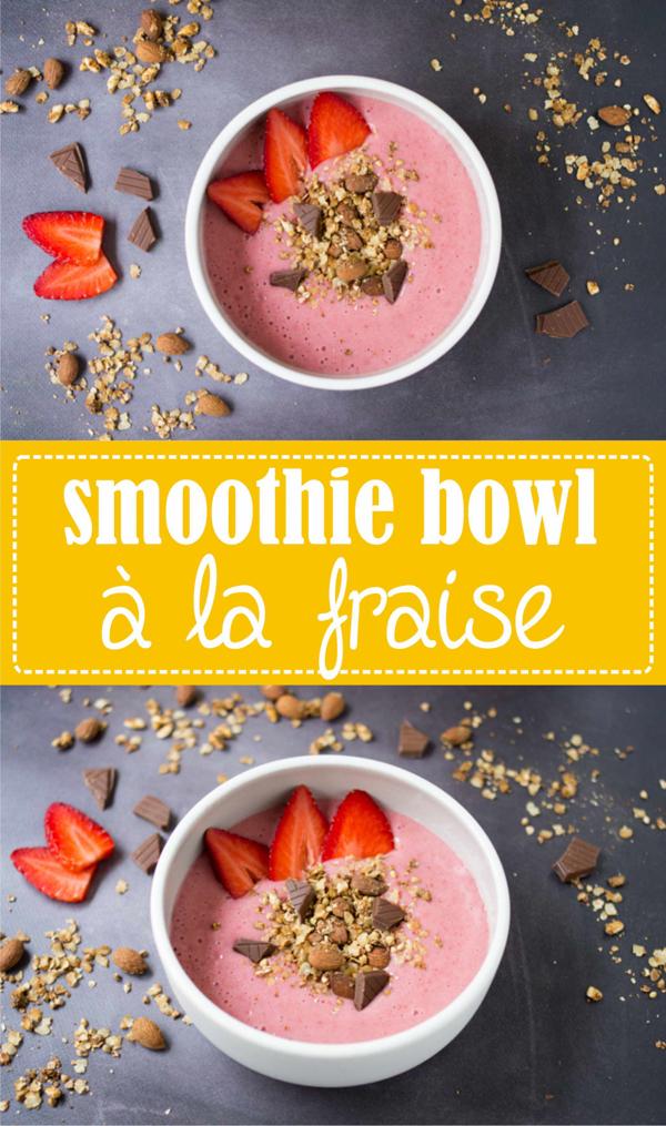 Smoothie bowl à la fraise, nana ice cream, recette facile et rapide pour le petit-déjeuner sur la Godiche
