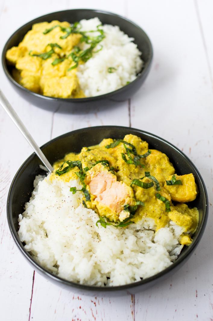 Curry au saumon, recette facile et rapide sur la Godiche / www.lagodiche.fr