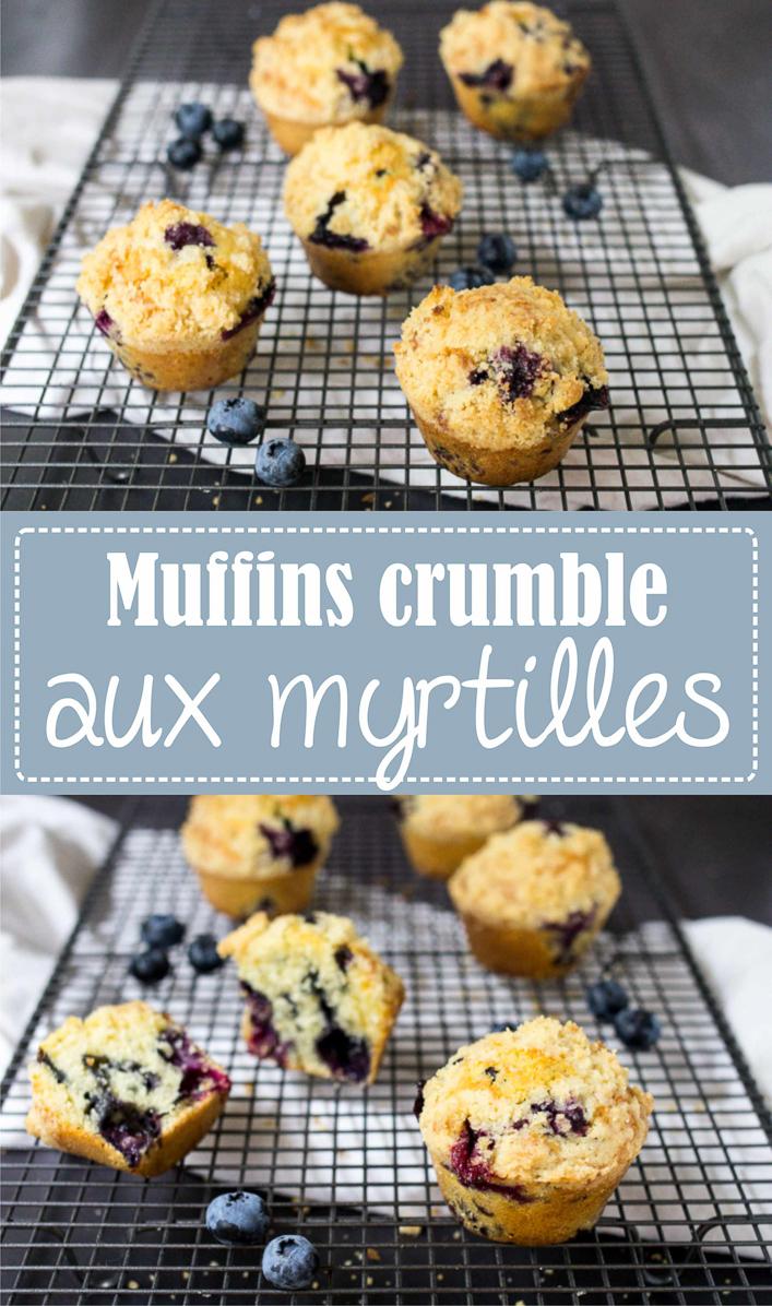 Muffins crumble aux myrtilles, recette facile et rapide sur la Godiche