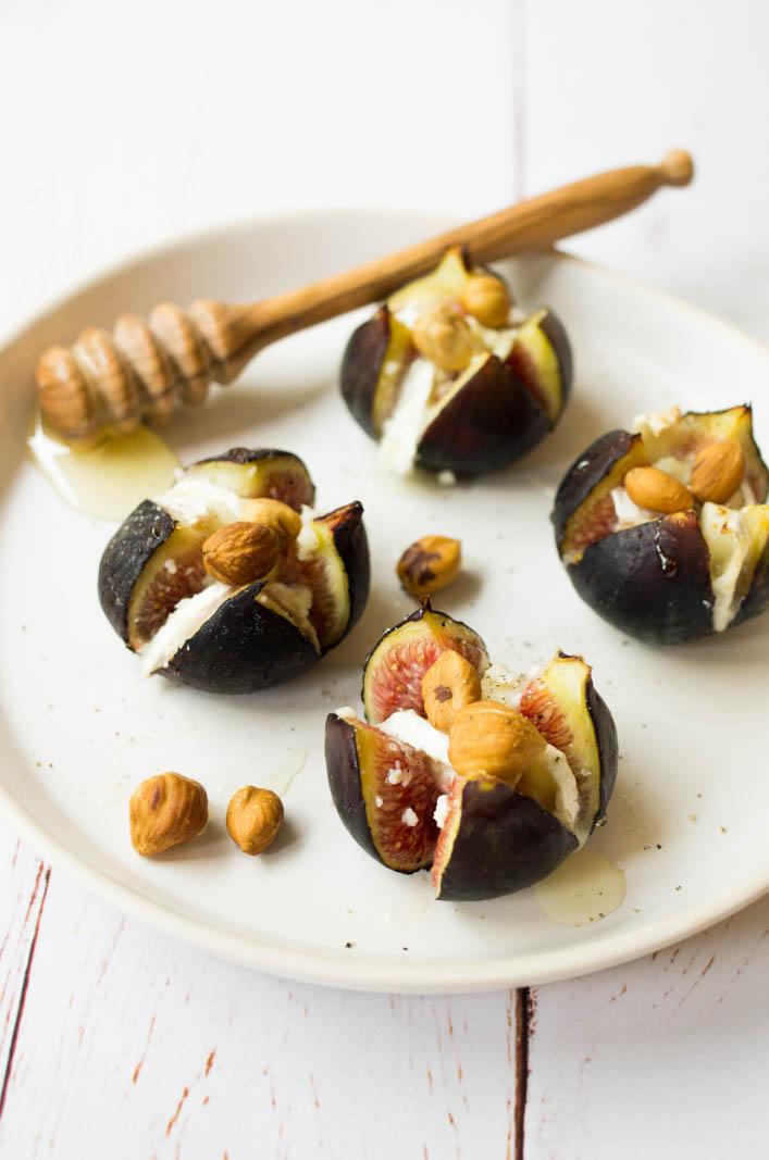 Figues chèvre noisettes et miel, recette gourmande et facile sur la godiche