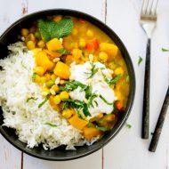 Curry vegan aux pois chiches, recette gourmand, heathy, vegan, sans gluten sur la Godiche / www.lagodiche.fr