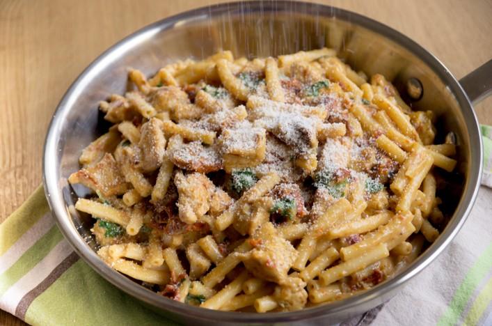 Pâtes à la florentin au poulet et tomates séchées recette sur la Godiche